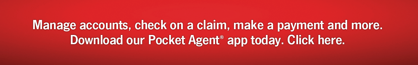 Manage Accounts, check on a claim, make a payment and more. Download our Pocket Agent app today. Click Here.