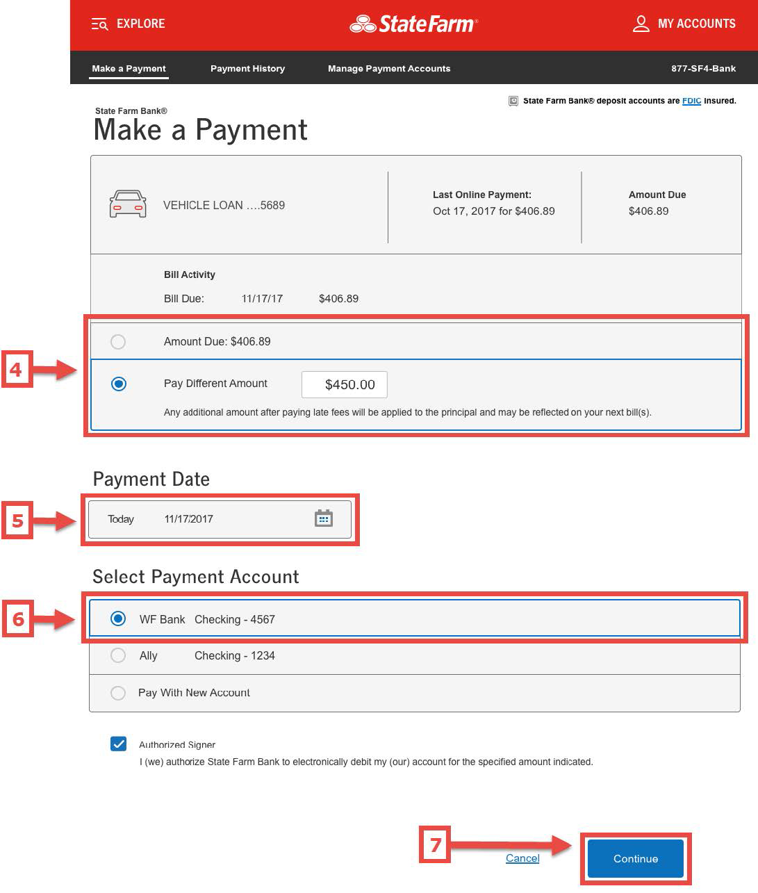 Screen shot of Make a Payment screen with sections for steps 4-7 numerically identified and described in text below the image. Additional steps are on the next slide.