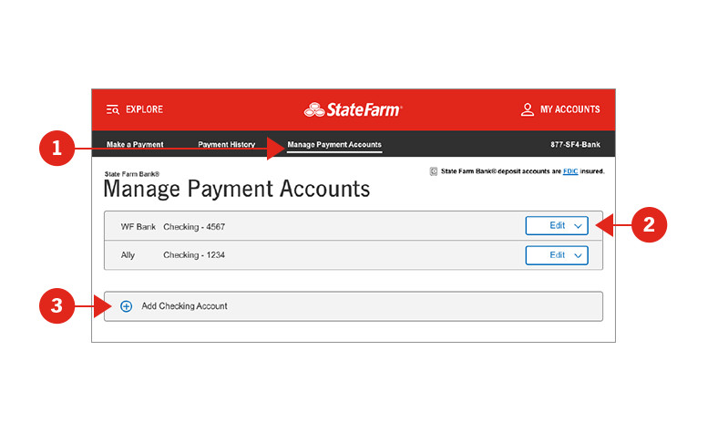 Screen shot of Manage Payment Accounts screen with sections numerically identified and described below.