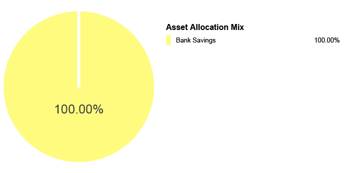 Pie Chart illustrating the Asset Allocation Mix for the State Farm® 529 Savings Plan Bank Savings Static Option. Bank Savings 100%.