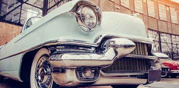 Front end of an antique classic car