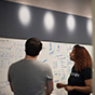Man and women collaborating ideas on a white board