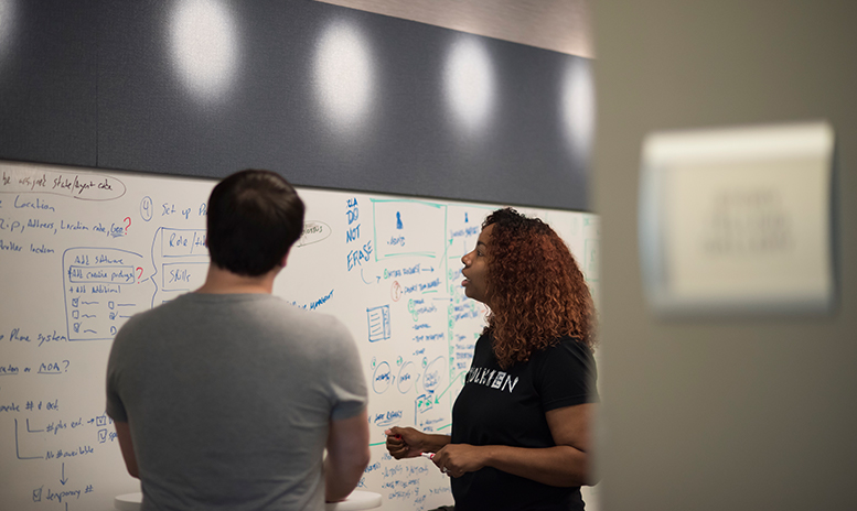 Man and women collaborating on a white board full of ideas