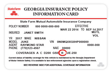 State Farm insurance card with R rental coverage highlighted