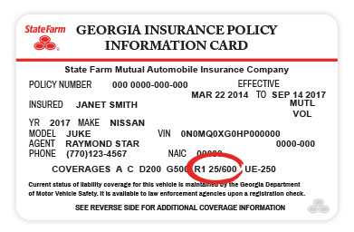 State Farm insurance card with R1 25/600 rental coverage identification highlighted