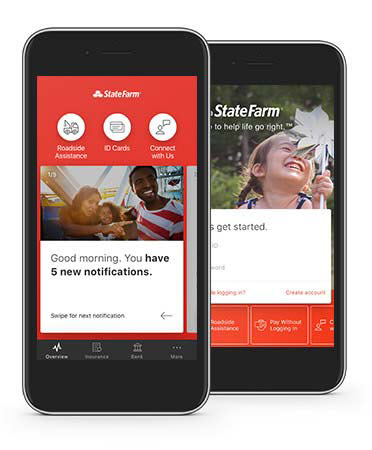 Phone with State Farm mobile app displayed.