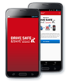 Two cells phones with Drive Safe and Save app on screen