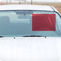 Red box indicating the acute area on a windshield.