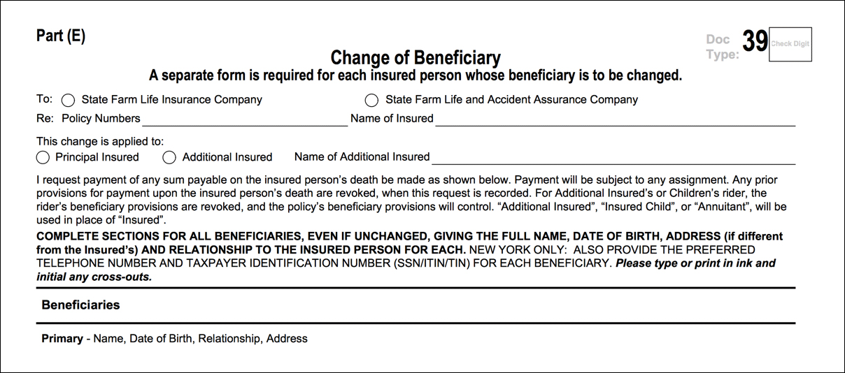Change life beneficiary portion of the life policy request letter showing the change of beneficiary form pronofoot35fo Images