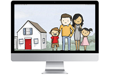 Computer monitor with hand-drawn family picture on screen