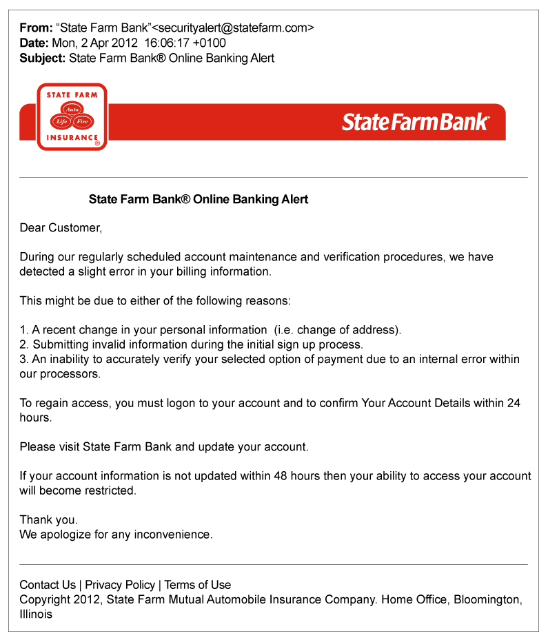Falsified Emails from Agents - State Farm®