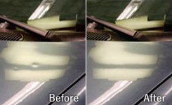 This is an image the shows the process of paintless dent repair