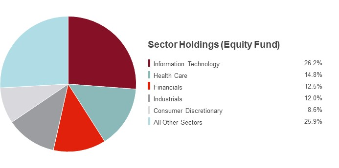 Pie Chart illustrating the Sector Holdings for the State Farm Equity Fund as of 06/30/2018. Information Technology 26.2%, Health Care 14.8%, Financials  12.5%, Industrials 12.0%, Consumer Discretionary 8.6% and All Other Sectors 25.9%.