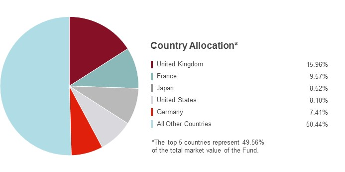 Pie Chart illustrating the State Farm International Equity fund's Country Allocation as of 6/30/2016. United Kingdom 15.96%, France 9.57%, Japan 8.52%, United States 8.10%, Germany 7.41% and All Other Countries 50.44%.