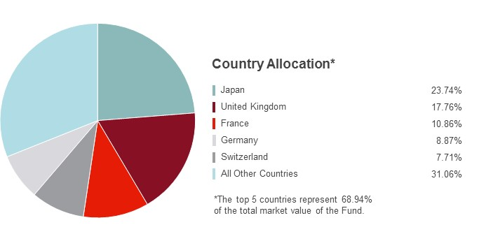 Pie Chart illustrating the Country Allocation for the State Farm International Index Fund as of 03/31/2018. Japan 24.34%, United Kingdom 17.05%, France 10.77%, Germany 9.05%, Switzerland 7.70% and All Other Countries 31.09%.