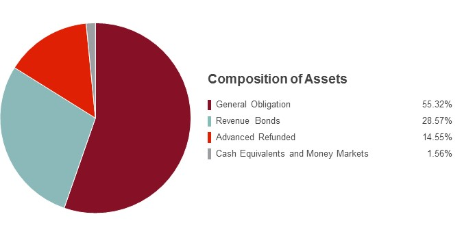 Pie Chart illustrating the State Farm Tax Advantaged Bond fund's Composition of Assets as of 6/30/2015. General Obligation 57.48%, Revenue Bonds 28.64%, Advanced Refunded 10.02%, Cash Equivalents and Money Markets 3.86%.