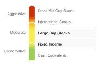 Graphic illustrating the State Farm LifePath 2020 fund on a risk spectrum. The Fund's risks generally align with the Conservative to Moderate risks associated with Fixed Income and Large Cap Stocks. Types of risks associated with this Fund are detailed below.