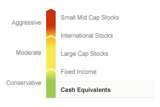 Graphic illustrating the State Farm Money Market fund on a risk spectrum. The Fund's risks generally align with the Conservative risks associated with Cash Equivalents. Types of risks associated with this Fund are detailed below.