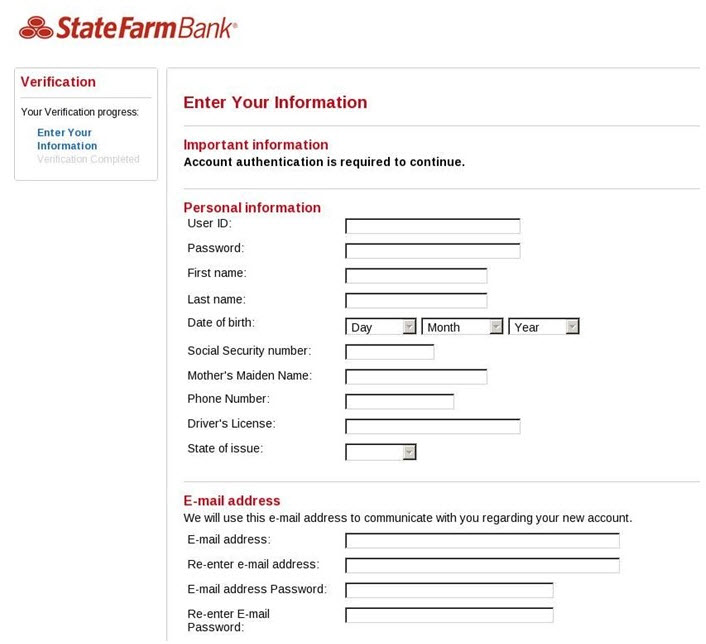 Screenshot of page, asking for you to enter your information, including sensitive information, such as Social Security Number.