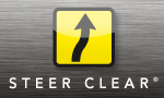 grey steer clear logo with black and yellow arrow pointing up