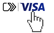 Finger pointing at Visa icon.