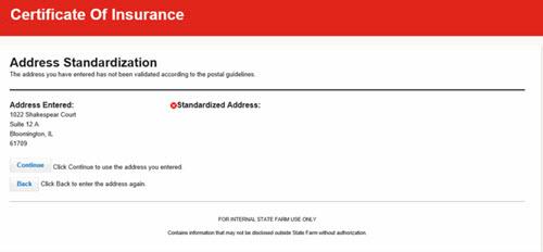 Create Certificate - Non Standardized Address