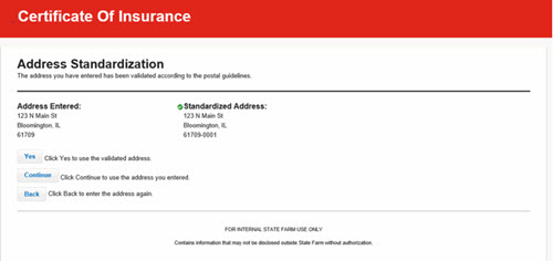 Create Certificate - Address Standardization