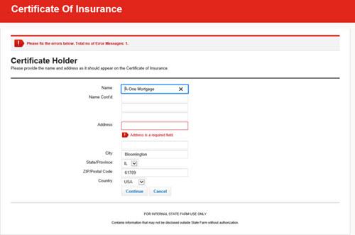 Create Certificate - enter Cerificate Holder Error Message