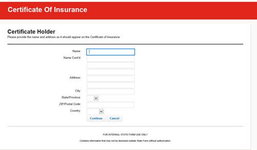Create Certificate - enter Cerificate Holder screen