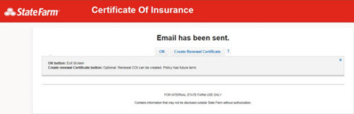 Create Certificate - Renewal Email Confirmation
