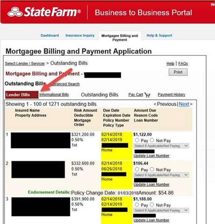 Lender Bills (escrow)
