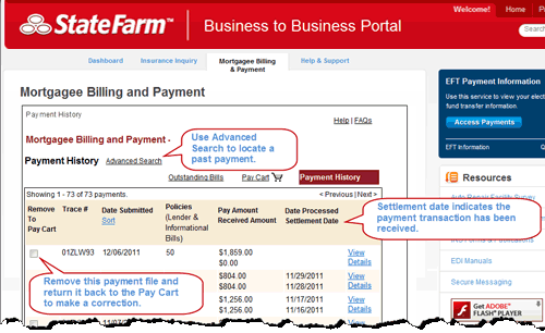 Payment History - page top