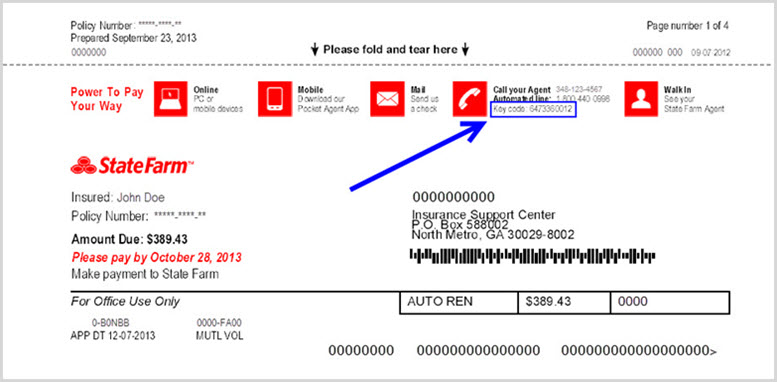 Image illustrates location of the key code on State Farm Payment Plan and Auto bills.