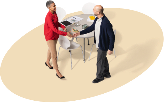 A female State Farm agent greets a gentleman in a black jacket about State Farm boat insurance.