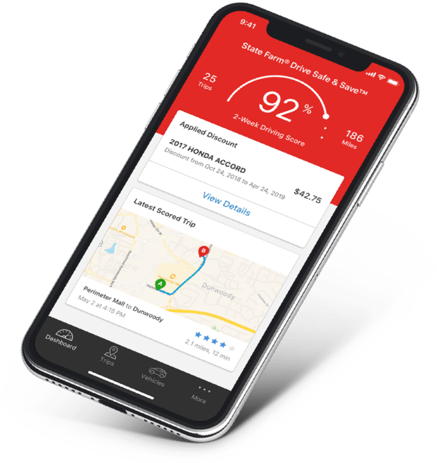 Drive Safe & Safe app on an iphone