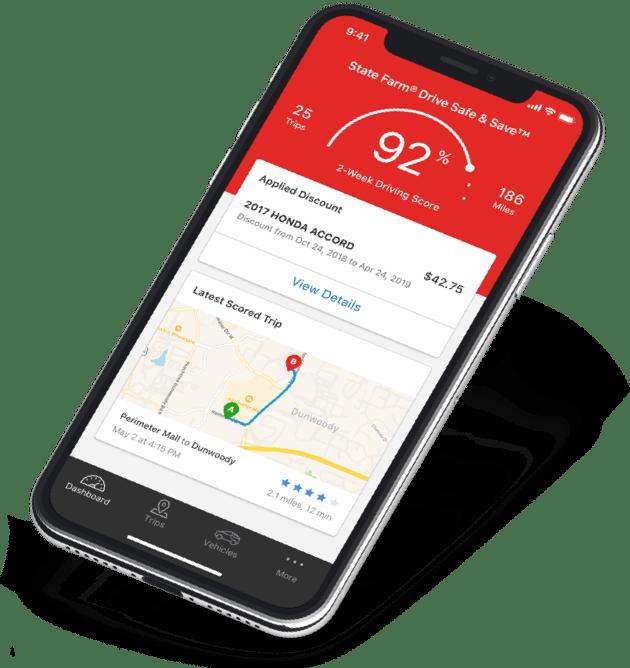 Drive Safe & Safe app on an iphone