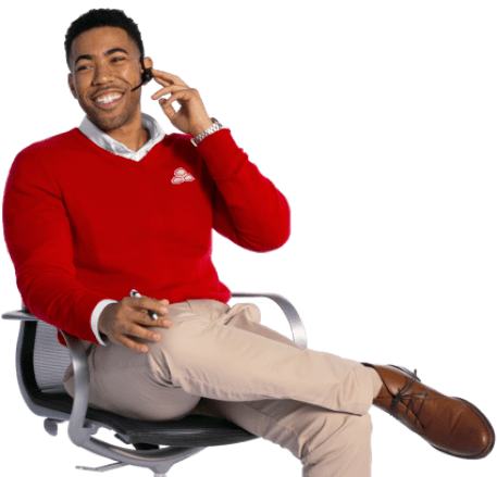State Farm agent Jake in red sweater and khaki pants