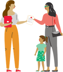 Illustration of agent handing paperwork to policyholder