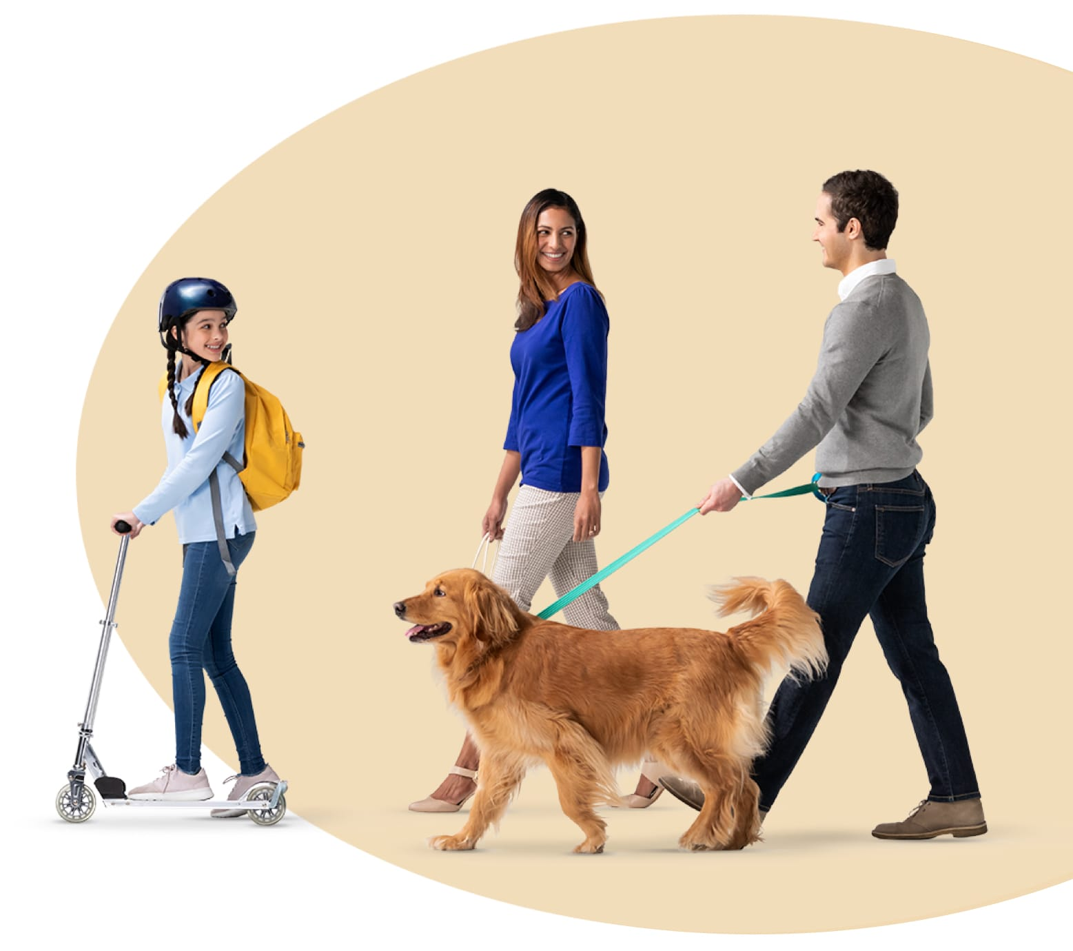A family takes their Golden Retriever for a walk