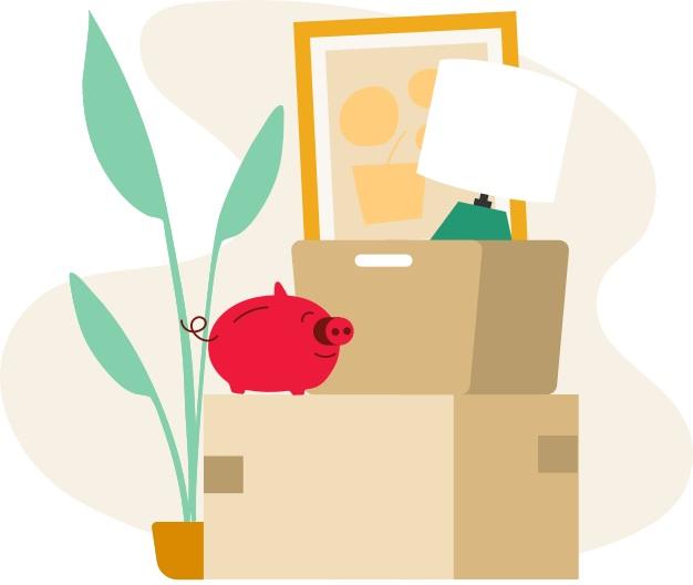 Caricatura que representa un cerdito rojo alcancía que vigila feliz una caja de mudanza marcada como cosas importantes.