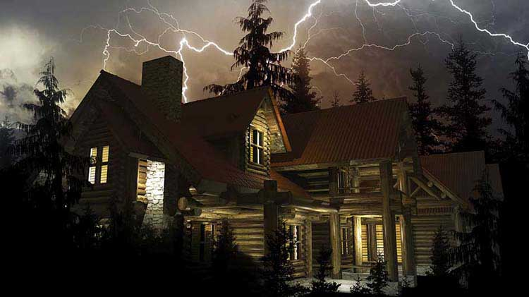 A rustic home in a lightning storm