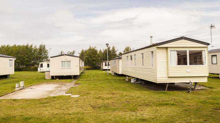 Several manufactured homes in a community
