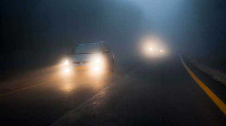 Dense fog on a highway