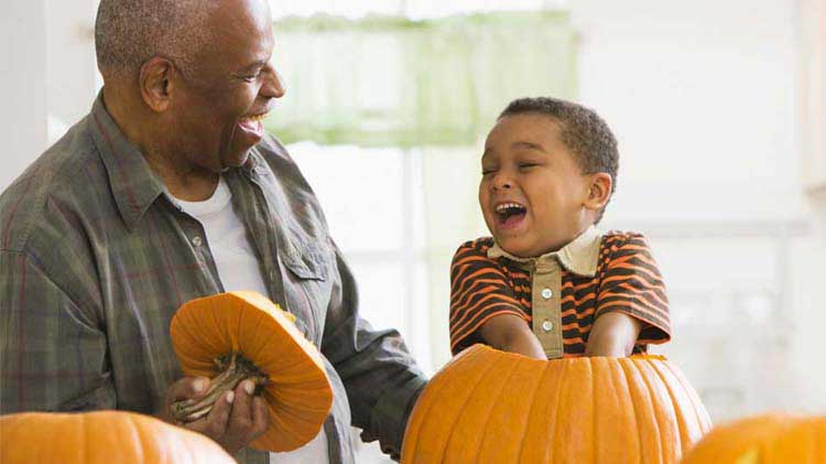 Safe pumpkin carving with small child