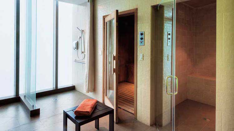 A sauna and steam bath rooms.