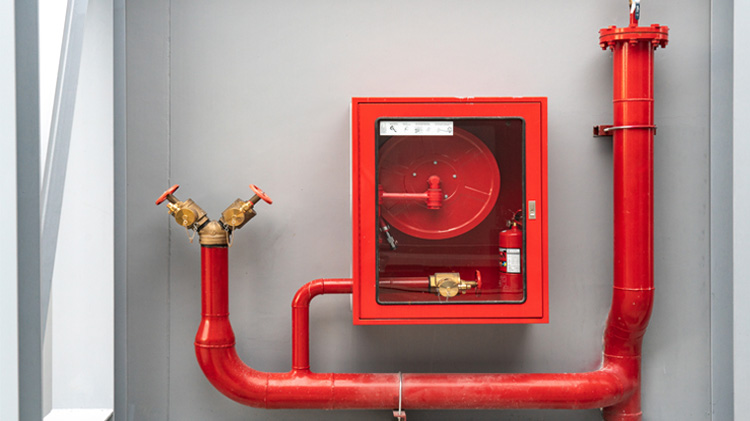 Fire extinguisher and fire hose reel