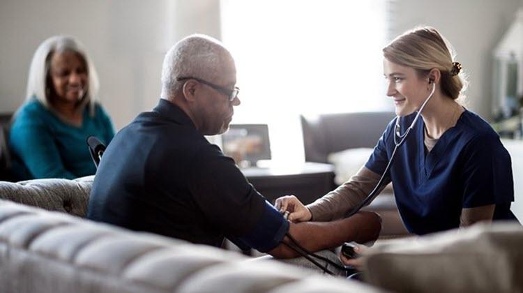 Man in retirement receiving healthcare.