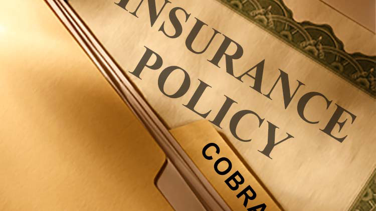 Image of an insurance policy behind a file folder labeled COBRA.