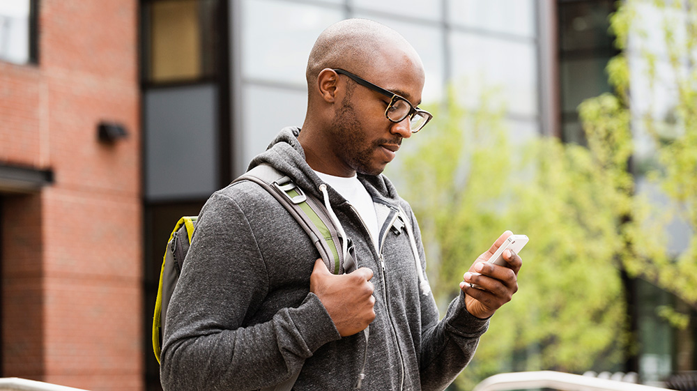 Man checking document safety on his smartphone