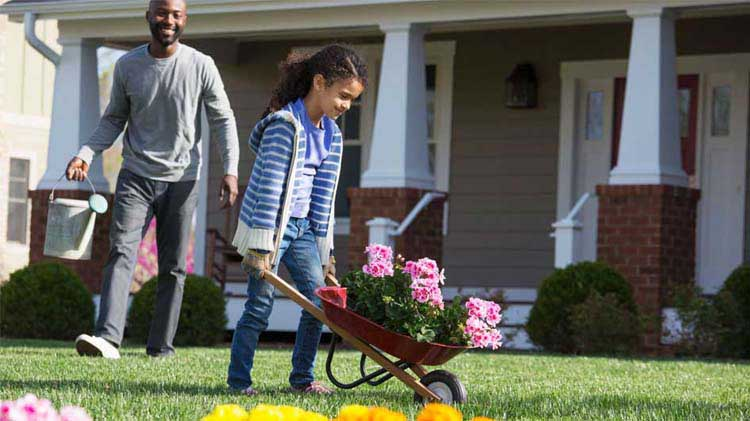 Father and daughter hauling flowers in a wheelbarrow.